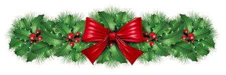 Kerst decoratie grens met rode zijde boog met grenen grens sier vakantie decoratie voor Holiday feestelijke viering winter op een witte achtergrond.