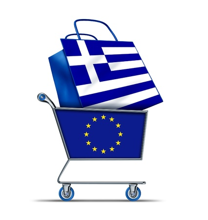 Greece for sale with Europe buying Greek debt  with a shopping cart as a  European Union concept and a shopping bag with a flag of Greece as an economic trading idea of the state of the Greek financial health in regards to selling assets from the mediterr