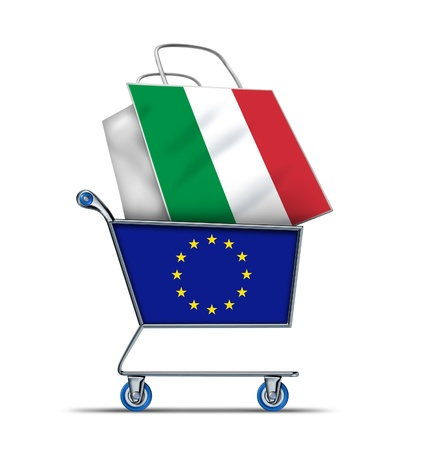 Europe buying Italian debt with a shopping cart as a European concept and a shopping bag with a flag of Italy as an economic trading idea of the Italian financial health in regards to selling Italy assets As an emergency  baillout.
