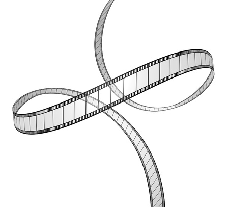 Film in dynamic perspective movie frames in a 3d twisted shape on white background for cinema and motion pictures as a digital film industry symbol floating in space showing the concept of visual media. photo