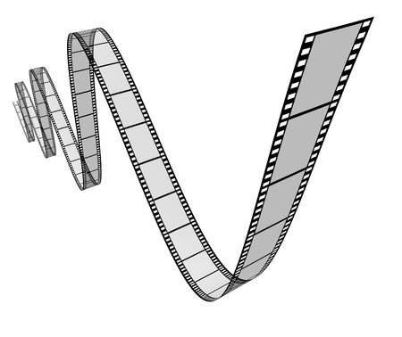feature films: Film movie frames in a dynamic 3d twisted shape on white background representing cinema and motion pictures directing as a digital film industry symbol with a spiral curved roll of film floating in dimensional space showing the concept of visual media.