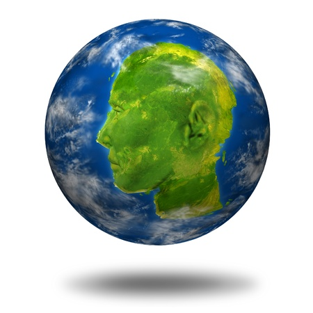 Global Communications leader concept with a planet Earth with a continent map shaped as a human head and face representing leadership and business success in international interactive connections from around the world. Stock Photo - 11404973