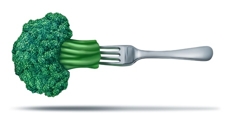 Health food with brocoli on a fork showing a natural green organic  juicy vegetable with a silver metal fork in it to represent healthy eating and vegetarian or dieting lifestyle. Stock Photo - 11404972