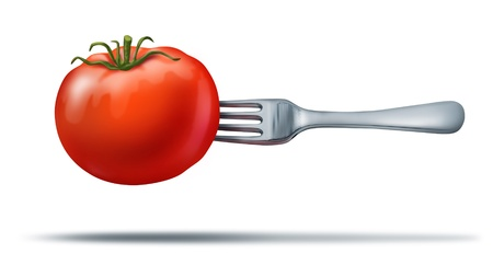 Health whole food showing a natural organic  juicy red tomato with a silver metal fork in it to represent healthy eating and vegetarian or dieting lifestyle. Stock Photo - 11404960