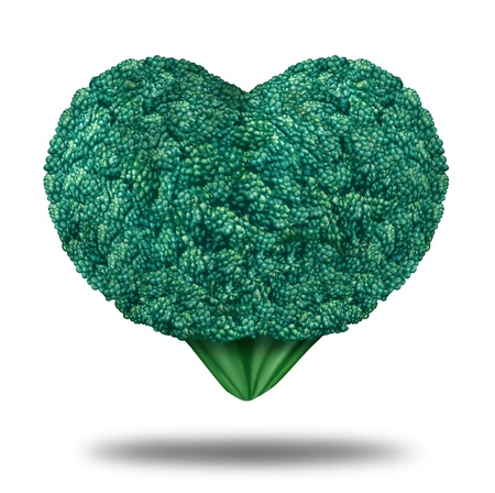 lowers: Healthy Living nutrition & exercising symbol with a fresh organic green raw broccoli vegetable  in the shape of a heart showing the natural dieting concept for eating health whole foods that fight cancer and lowers cholesterol.
