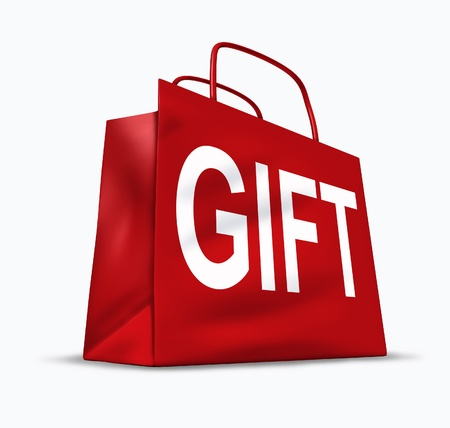 Gift red shopping bag with gifting packaging representing the concept of presents and holiday shoppers looking for surprise bargains and low prices at the mall department stores. Stock Photo - 11404964