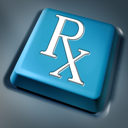 Prescription rx blue computer key on a keyboard button as a pharmacist symbol and medical data records concept for health care issues representing the medicine and pain releif cure recommended by medical hospital doctor. photo