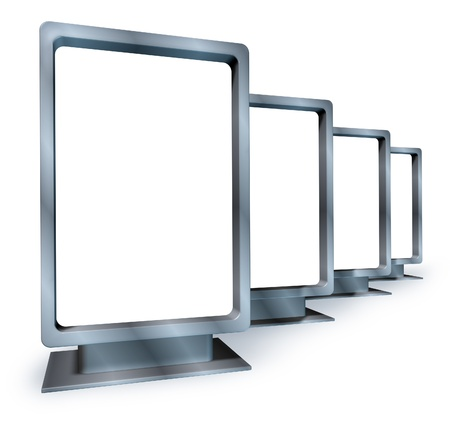 Blank vertical billboards for an advertising and marketing campaign with multiple displays made of shiny metal in different angles as sales placards for an ad program for selling goods and services for a business . Stock Photo - 11404961