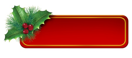 Christmas-tag-decoration-element featuring a festive blank red tag and banner with green holiday Holly and winter pine branches and red berries with gold trim. Stock Photo - 11718578