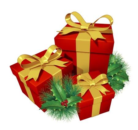 generoso: Regalos de Navidad con pino acebo muestra presenta color rojo y la cinta de seda azul con verde, vacaciones de invierno decoración festiva elemento como una celebración de entrega y generosidad de compartir el botín como agradecimiento. Foto de archivo