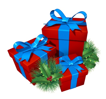 gifting: Christmas gifts with pine holly showing red presents and blue silk ribbon with green holiday festive winter decoration element as a celebration of giving and generous spirit of sharing the bounty as a thank you.