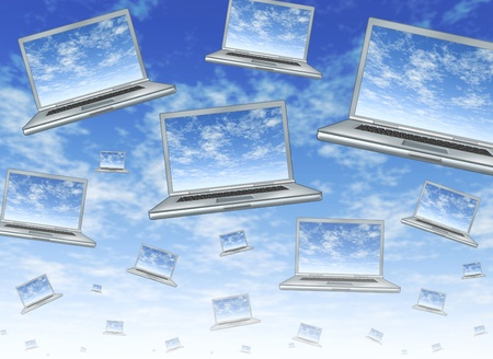 cloudshape: Cloud computing concept as a technology symbol of an internet virtual server with laptops floating in the air with clouds on the screens showing networks of computers connected in a web of communications.