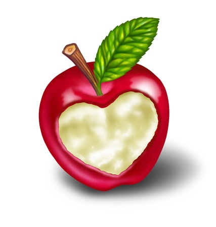 fighting cancer: Dieting and healthy living natural food diet featuring a red apple with a heart shape carved into the ripe delicious fruit as a symbol and concept of healthcare and eating whole foods from nature on white with a green leaf. Stock Photo