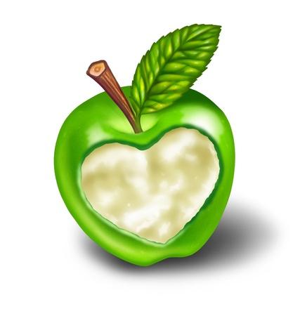 Una vida saludable y una buena dieta con alimentos naturales y el ejercicio simbolizada por una manzana verde con forma de corazón tallado en la deliciosa fruta madura como un símbolo y el concepto de salud y comer alimentos integrales de la naturaleza en blanco.