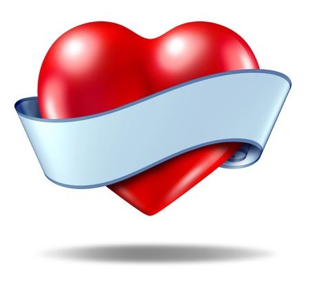 Hart embleem en liefde pictogram met een lege lint scroll over de hele va; entines symbool op een witte achtergrond.