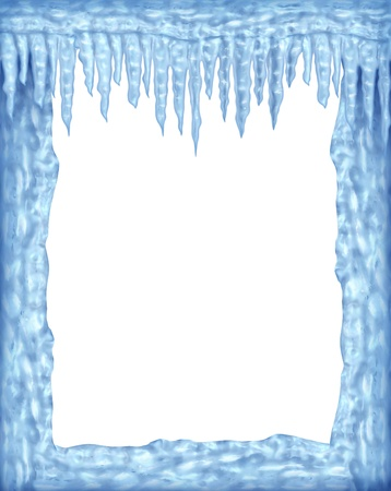 Frozen ice and icicles frame winter design element on a blank white background representing the cold arctic weather and low freezing  temperatures resulting in hanging shiny transparent ice crystals. photo