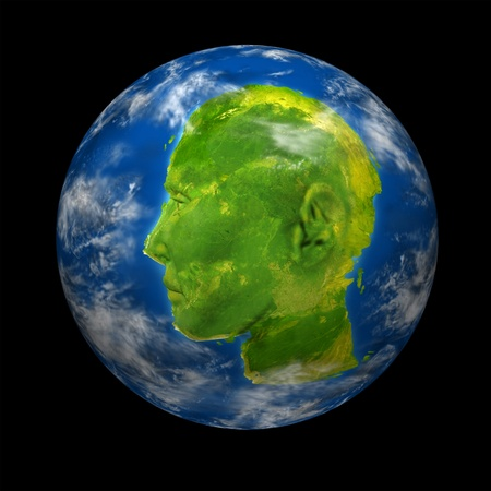 Interactive global communications leader concept with a planet Earth with a continent map shaped as a human head and face representing leadership and business success in international digital connections from around the world. Stock Photo - 11718577