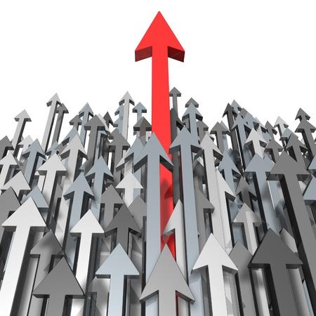 lead: La crescita e il successo attraverso la rottura verso l'alto e in piedi fuori dalla folla e aspireing per la grandezza e la chiara focalizzazione di un obiettivo come una freccia rossa in testa alla gara con le frecce grigie per acheivment concorrenza. Archivio Fotografico