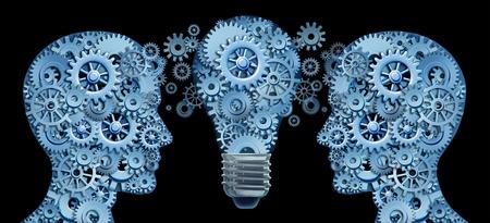 Samenwerken als een team voor innovatieve strategieën en het creëren van nieuwe ideeën en producten door middel van lesdership en het onderwijs vertegenwoordigd door twee menselijke hoofden en een gloeilamp in de vorm van tandwielen en radertjes.