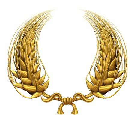 and authority: Corona de laurel de oro de trigo de oro que representa un premio y el �xito de ganar y un logro la certificaci�n como un elemento decorativo de hierba de trigo trenzado 3d y grano cosechado la alimentaci�n como un s�mbolo de la salud.