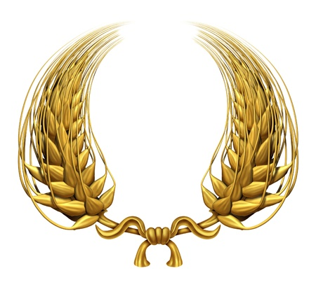 crests: Gold laurel wreath of golden wheat representing an award and success of winning and a certified  achievement as a decorative element made of twisted 3d wheat grass and harvested food grain as a symbol of health.