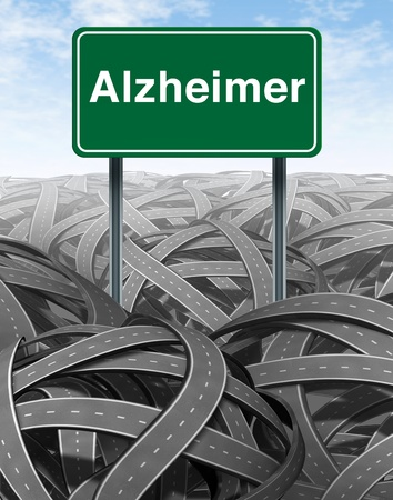 brain function: Alzheimer Disease and Dementia medical concept with a green highway road sign with text reffering to memory loss and human brain problems with tangled roads and twisted streets in the bckground as a symbol of delusion and confusion.