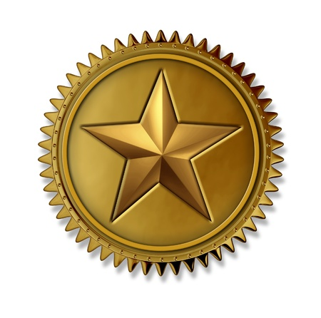 Gold star award medal as a first place golden seal with number one rating prize for best in class service and quality for winning the highest level in customer satisfaction and success in being the top on a white background. photo