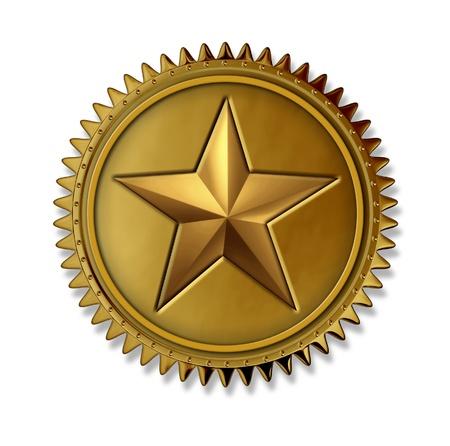 etoile or: M�daille d'or Prix de l'�toile comme un sceau d'or la premi�re place avec le prix Note num�ro un de mieux pour un service et une qualit� pour gagner le plus haut niveau de satisfaction des clients et le succ�s en �tant le haut sur un fond blanc.
