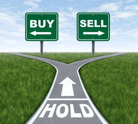 sell: Buy and sell or hold decision dilemma crossroads of financial investing using a stock broker investment adviser and a symbol of difficult choices for profit or loss in finances and business of future savings.