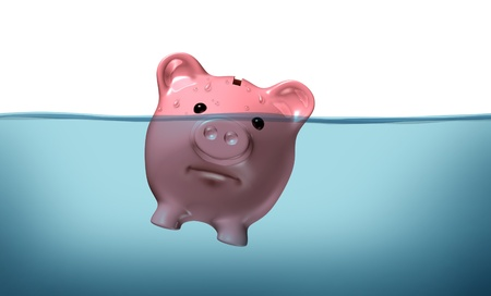 sink drain: Drowning in debt and keeping your financial head above water represented by a piggy bank pink pig sinking in blue water as a symbol of urgent business and money management failure and defeat.