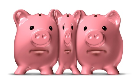 Financial squeeze and credit crunch represented by a squished and narrow piggy bank under pressure from bigger pigs as a ceramic icon of savings symbol that is challenged by economic pressure to cut the budget and be more frugal.
