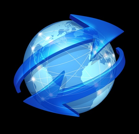 web marketing: Global communications symbol  on black and connections concept with a blue international globe of the world with two curved arrows going around the sphere as a social exchange and trade icon for imports and exports of goods and digital media content.