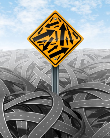 empedrado: Ayuda y símbolo de servicio al cliente con un cartel amarillo con varias flechas en diferentes direcciones con un fondo de calles enmarañadas como un símbolo de la salvación de la confusión de los desafíos complicados. Foto de archivo