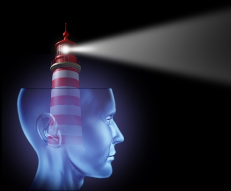 future vision: Leadership and Guidance with a  human head and a lighthouse beam of glowing light symbol facing forward as guidance for a concept of success and strategic planning from the high tower for security and clear direction in business.