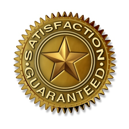 Satisfaction Guaranteed gold seal with star rating on a white bakground  with full warranty and quality customer service on a folden award badge medal as an authority and certificate of best in class.
