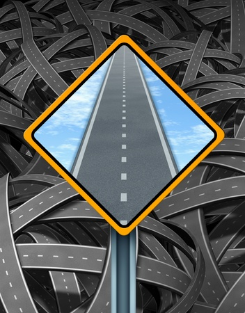 illogical: Solution traffic sign with a yellow road signage displaying a clear straight road forward in contrast to the tangled mess of interlinked highways going in multiple confused directions as a symbol of successful guidance and leadership management. Stock Photo