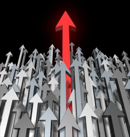 breaking through: Crecimiento y el �xito de �ltima hora debido a la competencia mueve hacia arriba y de pie entre la multitud y aspireing para la grandeza y el enfoque claro de una meta como una flecha roja que conduce la carrera con flechas de color gris para acheivment competencia.
