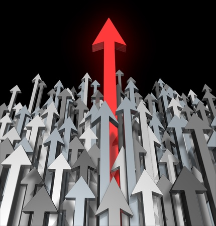 Growth and Success breaking through competition moving up and standing out from the crowd and aspireing for greatness and clear focus of a goal as a red arrow leading the race with grey arrows for  competition acheivment. Stock Photo - 11718514