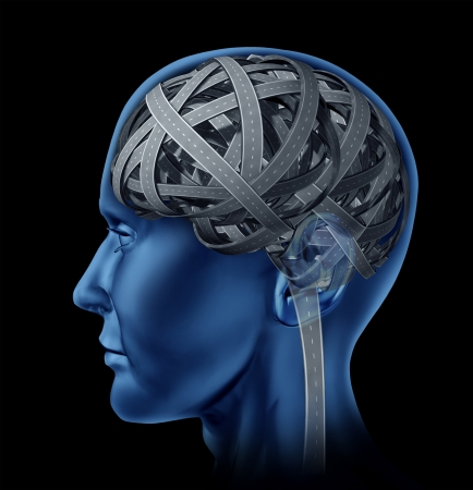 brain aging: Confused human intelligence with a head and brain in the shape of tangled mixed up roads and highways as a symbolof mental illness and old age memory loss and cognitive function as a health care issue.