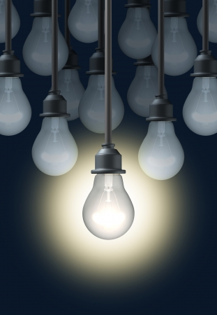 way out: Creativity with a bright shinning light bulb standing out in a successful way from the crowd of dim objects in a competitive  business environment. Stock Photo
