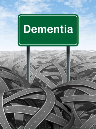 Dementia  and alzheimer Disease  medical concept with a green highway road sign with text refering to memory loss and human brain problems with tangled roads and twisted streets a symbol of confusion. Stock Photo - 11718522