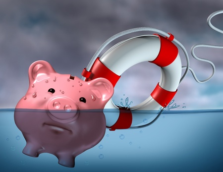 recession: Financial Aid and rescue from debt problems and keeping your investments above water represented by a drowning pink piggy bank sinking in blue water with a life preserver as a symbol of urgent business help and assistance from bankruptcy.