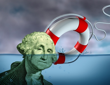 preserver: Financial Rescue from debt problems and keeping your investments above water represented by a drowning George Washington portrait sinking in blue water with a life preserver as a symbol of urgent business help and assistance from bankruptcy.