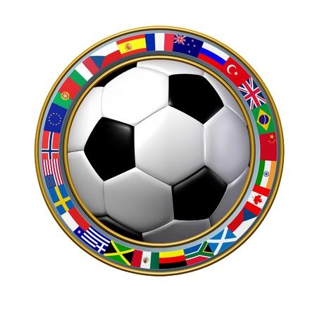 balon soccer: Fútbol Mundial con un anillo de banderas internacionales que muestran el anillo de los deportes de equipo número uno del mundo uno sobre un fondo blanco.
