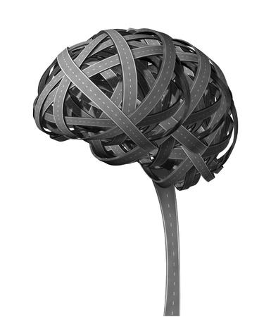 groviglio: Umana Mente con il concetto di demenza strade aggrovigliate a forma di malattia inflitta testa malata con problemi di pensiero come un organo cognitivo disfunzionale con un malattie e di mentali che colpiscono l'intelligenza e la perdita di memoria.