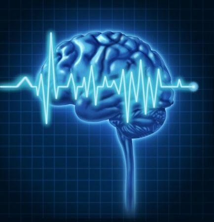 Human Brain ECG Health monitoring of the electrical signals that cause seizures and other problems in the human mind and charting the cognitive mental function of the intelligence of the anatomy of the body. photo