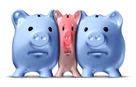 smaller: Money crunch and financial squeeze or credit crunch as a squashed and pressed pink piggy bank under pressure from bigger blue pigs as a financial icon of savings problems that is challenged by economic pressure due too low funds. Stock Photo