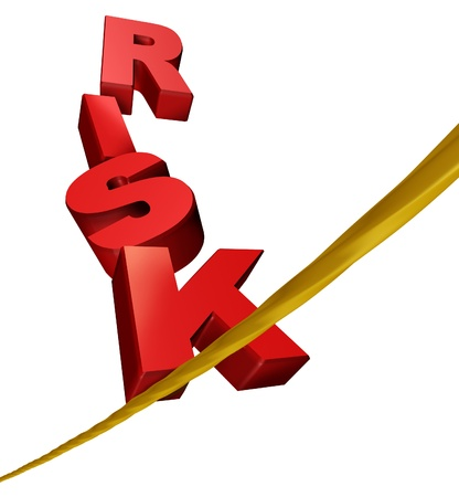 Risk symbol with dimensional text letters on a dangerous tightrope balancing as an anxiety concept of risky behavior and business risk or health risks on a white background.