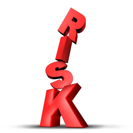 recession: Risks symbol with dimensional unsteady text letters on the verge of falling down trying deperately to keep its fragile balance as an anxiety concept of risky behavior and business risk or health risks on a white background. Stock Photo
