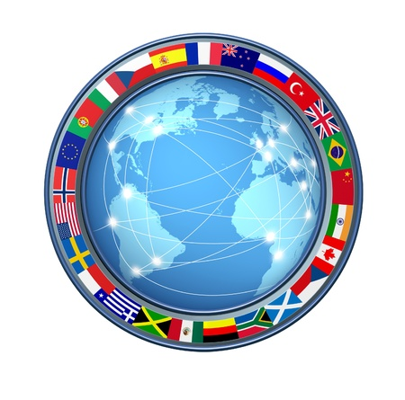 international internet: World Internet connections with ring of global flags showing an international communications technology theme representing countries from multiple continents on a white background connected sharing data.